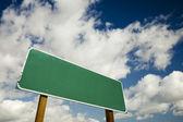 Blank Green Road Sign Illustration — Stock Photo