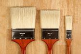 Three Different Sized New Paint Brushes — Stock Photo
