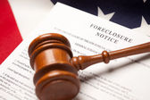 Gavel, Flag and Foreclosure Notice — Stock Photo