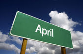 April Green Road Sign — Stock Photo