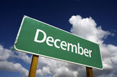 December Green Road Sign — Stock Photo