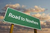 Road to Nowhere Green Road Sign — Stock Photo