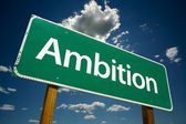 Ambition Green Road Sign Over Sky — Foto Stock