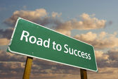 Road to Success Green Road Sign — Stock Photo