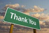 Thank You Green Road Sign Over Sky — Stock Photo