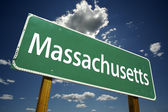 Massachusetts Green Road Sign — Stock Photo