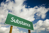 Substance Road Sign with Dramatic Clouds — Stock Photo