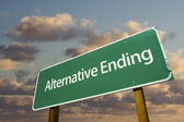 Alternative Ending Green Road Sign — Stock Photo