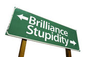 Brilliance and Stupidity Green Road Sign — Stock Photo