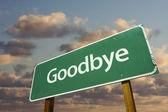 Adjö grön vägmärke — Stockfoto