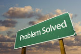 Problem Solved Green Road Sign — Stock Photo