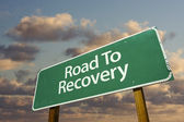 Road To Recovery Green Road Sign — 图库照片