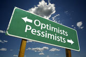Optimists, Pessimists Green Road Sign — Stock Photo