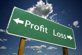 Profit, Loss Green Road Sign — Stok fotoğraf