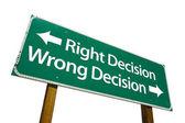 Bonne décision, décision erronée vert sig — Photo