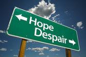 Hope, Despair Green Road Sign — Stock Photo