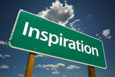 Inspiration Green Road Sign — Stock Photo