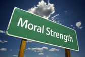 Moral Strength Green Road Sign — Stock Photo