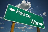 Peace, War Green Road Sign — Stock Photo