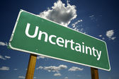 Uncertainty Green Road Sign — Stock Photo