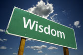 Wisdom Green Road Sign — Stock Photo