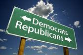 демократы и республиканцы дорожный знак — Стоковое фото