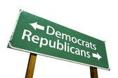 Democrats and Republicans Road Sign — Stock Photo