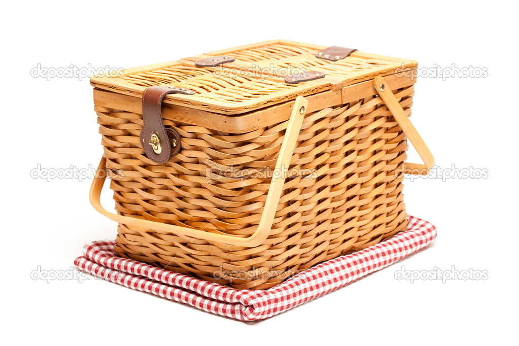 Picnic Basket and Folded Blanket Isolated on a White Background. — Stock Photo #2328477