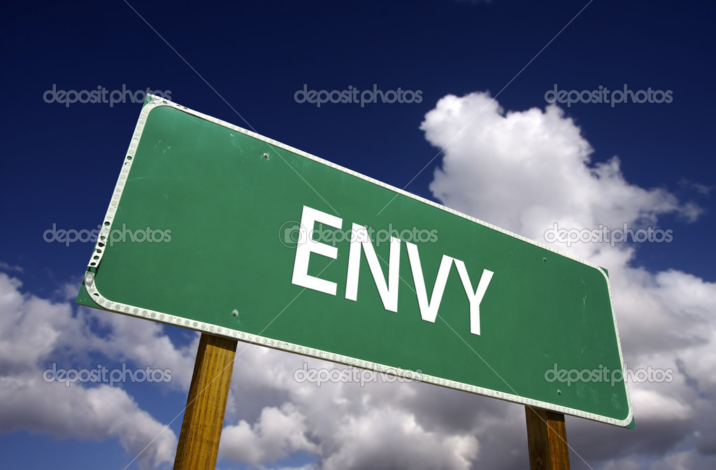 Envy Road Sign on Clouds and Blue Sky - 7 Deadly Sins Series — Stock Photo #2328491