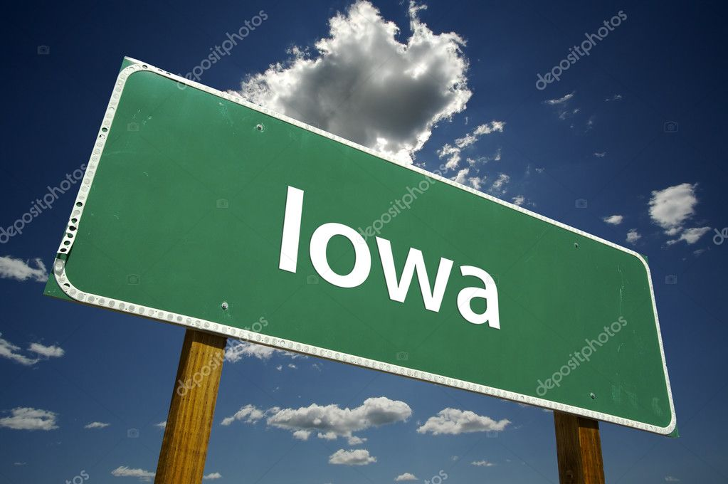 Iowa Road Sign with dramatic clouds and sky.  Stock Photo #2328810