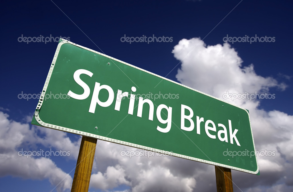 Spring Break Road Sign with Dramatic Clouds and Sky — Stock Photo #2328820