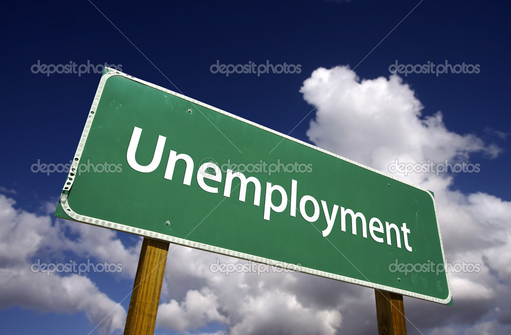 Unemployment Road Sign with Dramatic Clouds and Sky. — Stock Photo #2328842