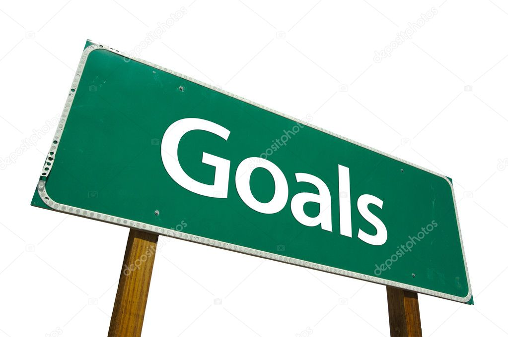 Goals Green Road Sign Isolated on a White Background with Clipping Path. — Stock Photo #2329115