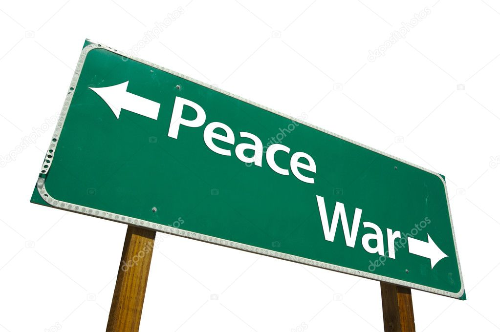Peace, War Green Road Sign On White — Stock Photo