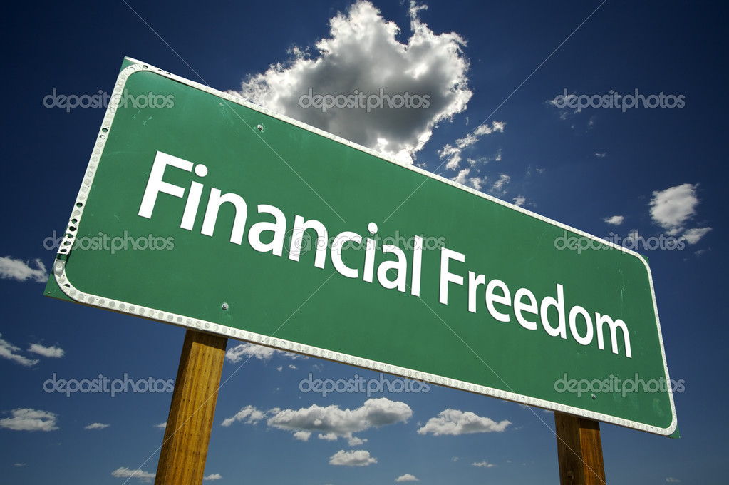 Financial Freedom Road Sign with dramatic clouds and sky. — Stock Photo #2329494