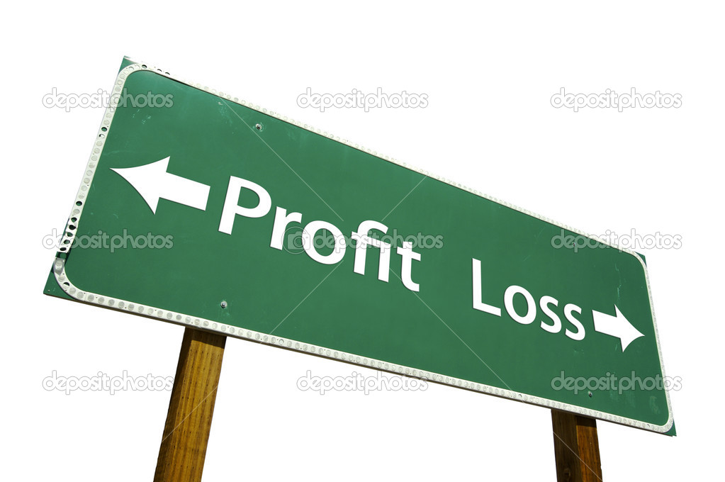 Profit, Loss Green Road Sign Isolated on a White Background with Clipping Path.  Stock Photo #2329511