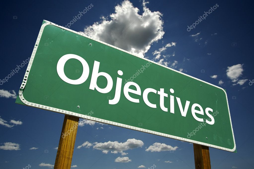 Objectives Road Sign with dramatic clouds and sky. — Stock Photo #2329758