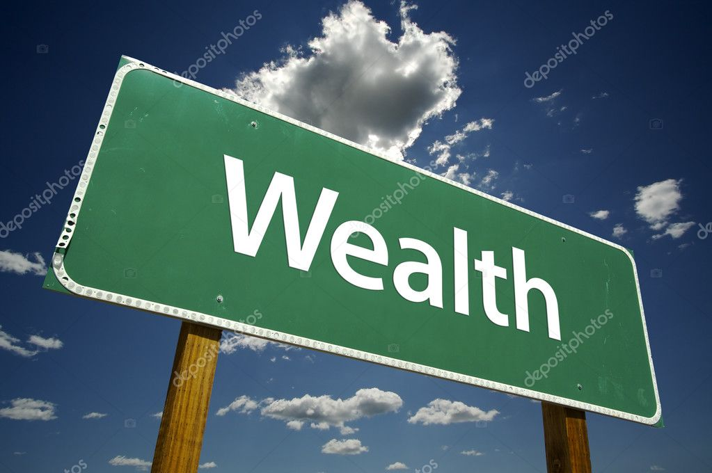 Wealth Road Sign with dramatic clouds and sky. — Stock Photo #2329898
