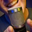 Passionate Vocalist Using Microphone — Stock Photo