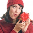 Attractive Woman Holds Holiday Gift Isol - Foto de Stock  