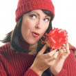 Attractive Woman Holds Holiday Gift Isol - Lizenzfreies Foto