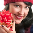 Happy, Brunette Girl Holds Holiday Gift — Stock Photo
