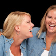 Two Beautiful Sisters Laughing Isolated — Stock Photo