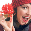 Brunette Woman Holds Holiday Gift — Stock Photo #2343454