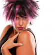 Pink And Black Haired Punk Girl — Stock Photo #2343457
