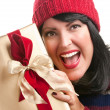 Happy Attractive Lady Holds Holiday Gift — Stock Photo #2343464