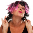 Pink Black Haired Punk Girl Isolated - Stock Photo