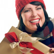 Smiling Girl Holds Holiday Gift Isolated — Stock Photo