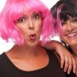 Stock Photo: Two Pink & Black Haired Gals