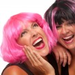 Two Pink And Black Haired Girls — Stock Photo